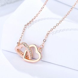 necklaces pendants Australia - Luxury Fashion S925 Silver Necklace Double Love Couple Men and Women Necklace Female Heart-shaped Pendant Clavicle Chain