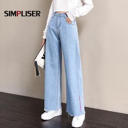 4248c7ec8f22 High Street Women Denim Blue Jeans Trousers Plus Size 32 Femme Pantalon High  Waisted Loose Wide Leg Pants Big Sizes 2019 New Y19042901