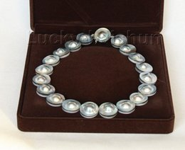 "mabe pearls Australia - 10X10 jewerly free shipping natural 18"" 23mm South Sea gray Mabe Pearl necklace pearl clasp"