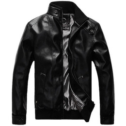 Wholesale mens leather jacket brands resale online – Brand New Leather Jacket Men Design Stand Collar Male Casual Motorcycle Leather Jacket Mens jaqueta de couro masculino PU