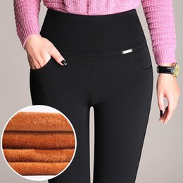 3c2fd3d9f9f2 Plus Size Trousers Women Office Lady Slim Elegant Winter Warm Pencil Pants  High Waist Stretch Thickening Leggings P8612