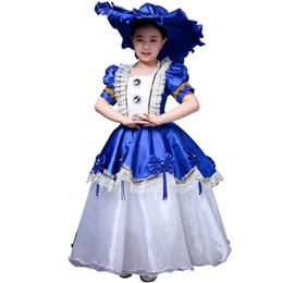 $enCountryForm.capitalKeyWord Australia - freeship 100%real children's girls royal blue white bowknot ball gown stage costume renaissance gown dress with hair decoration