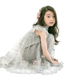 tulle embroidery dress UK - Summer Kids Sleeveless Lace Dress Gray Princess Costume Age For 4 - 14 Yrs Big Girls Tulle Embroidery Bow Teenage Party Frocks J190616