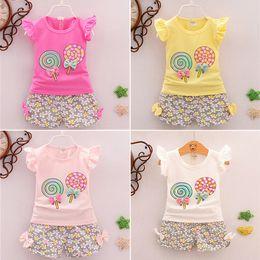 $enCountryForm.capitalKeyWord Australia - Summer Girls T-shirt + Pants 2 Piece Sets 4 colors baby girl kids clothes kids designer clothes Candy bowknot Sleeveless T-shirt DHL JY126