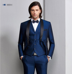$enCountryForm.capitalKeyWord Australia - New Design Dark Blue Groom Tuxedos 2019 One Button Black Shawl Lapel Best Man Groomsmen Men Wedding Suits (Jacket+Pants+Vest+Bow)