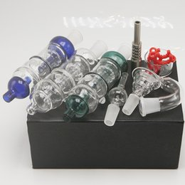 Wholesale Blue Green Clear Colored Birdcage Perc Glass Bubbler Water Pipes Dab Bongs HoneyBird Hand Pipes With Titanium Nail Glass Bowl Adaptor