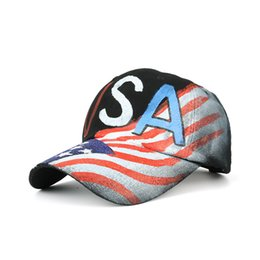 sun hats without top 2019 - America Flag Ball Hat New Style Frayed Brim Baseball Cap Top Quality Cotton Sun Hat Print Fashion Couple Hat Luxury Bran