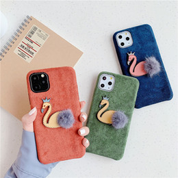 cloth iphone Australia - For iphone 11 Pro Max luxury Handmade Cloth cute 3D little Swan Mobile phone case for iPhone X XR XS MAX cover