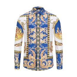 $enCountryForm.capitalKeyWord Australia - New Fashion Men's Summer Shirts Gold Floral Print Men Dress Shirt Pattern Slim Fit Shirts For Mens Medusa Casual Business Shirts Clothing