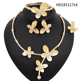 mexican christmas party decorations Australia - Yulaili Fancy Fashion Zircon Gold Color Butterfly Decoration Crystal Necklace Earrings Bracelet Ring Party Wedding Jewelry Sets