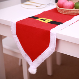 christmas table cloth runner NZ - 1PC 180X35CM Christmas Table Flag Gold Color Belt Buckle Red Color Cloth Christmas Table Runner for Decoration