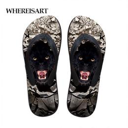 3d Flips Australia - WHEREISART 3D Animal Print Mens Flip Flops Cool Black Sandals Male Summer Beach Slippers Breathable Fashion Flat Sandals Shoes