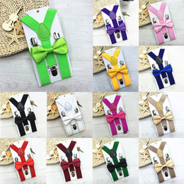 belts for kids wholesale 2019 - 32 colors Kids Suspenders Bow Tie Set for Baby Braces Elastic Y-back Boys Girls Suspenders accessories Children Belts Ba