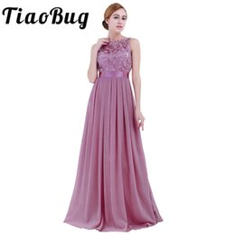 78b79c190de7 Tiaobug Lace Bridesmaid Dresses Long 2017 New Designer Chiffon Beach Garden  Wedding Party Formal Junior Women Ladies Tulle Dress J190623