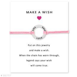$enCountryForm.capitalKeyWord Australia - Faith Love Hope Handmade Rope Charm Bracelets for Women Men Friendship Statement Wish Jewelry Gift With Card