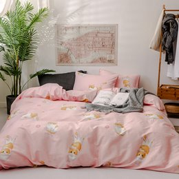 rose print bedding Australia - Lucky Home Pink 3-Piece Cotton Cartoon Little Cats Duvet Cover King Children Bedding Soft Duvet Cover Set Zipper Closure Durable Sheet Set