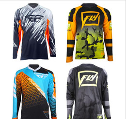 Orange bikes t shirt online shopping - 2019 FLY downhill suit Quick drying wicking long sleeved mountain bike riding top DH Off road T shirt breathable