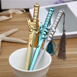 Toy Swords Wholesale NZ - Student Cartoon Gel Pen Office Supplies Pen Kids Chinese Style Sword Educational Toys Student Writing Supplies Mixed Color Delivery 57