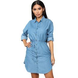 $enCountryForm.capitalKeyWord Australia - Women Spring Shirt Dresses Fashion Denim Blue Single Breasted Mini Casual Slim Dress