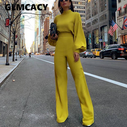 Women Spring Fashion Elegant Office Lady Workwear Casual Long Jumpsuits High Neck Lantern Sleeve Wide Leg Overalls MX190726 on Sale