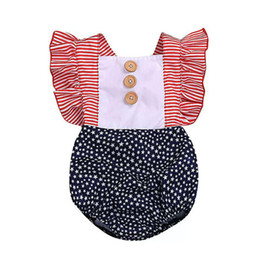 BaBy summer star online shopping - Baby Summer Star Rompers Pleated Square Collar American Flag Independence National Day USA th July Female Baby Stripe Ruffled Jumpsuit