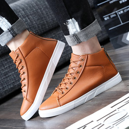 Black high ankle shoes for men online shopping - 1pair Spring PU Leather Shoes For Men Casual Shoes With Zip High Top Lace Up Ankle Boot Mens Shoe