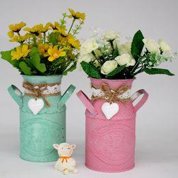 $enCountryForm.capitalKeyWord Australia - Creative Iron Tabletop Old Metal Flowers Circular Barrel Vase Plant Pot Vintage Retro Garden Planting Art Home Decoration Q190529