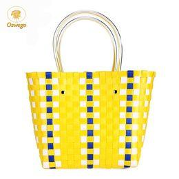 $enCountryForm.capitalKeyWord Australia - Oswego Beach Bags Handbags Ins Summer Hot Colorful Basket Hand-Woven Plaid Shopping Beach Seaside Casual Totes Female 2019 New