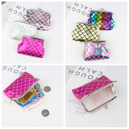 Coin Scale NZ - 6styles Baby Mermaid Coin Purse Fish scale wallet cartoon cute kids handbag children Shell Bags party favor kids gift FFA2087