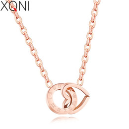 Interlock necklace online shopping - XQNI Beautiful Heart Circle Interlocking Pattern Rome Digital Rose Gold Stainless Steel Pendant Necklace For Women Cute Jewelry