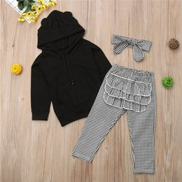 Hooded Headband Australia - Newborn Baby Girls clothes long sleeve pocket pullover Hooded solid Tops Plaid Ruffle Pants Bow Headband 3pc kids Toddler Outfit