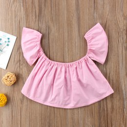 girls style summer shirt Australia - Fashion Casual Newborn Infant Baby Girls Short Petal Sleeve Off Shoulder Pullover Solid Shirt Tops 3 Style Outfit Summer 0-24M
