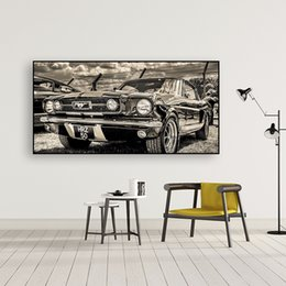 classic car painting Canada - Classic Sports Car Posters 1965 Ford Mustang Car Canvas Paintings Wall Art for Living Room Home Decor (No Frame)
