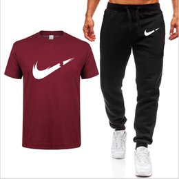 mens gym hot pants NZ - 2019 Summer Hot Sale Brand Sets T Shirts+pants Two Pieces Sets Casual Tracksuit Mens T Shirt Gyms Fitness trouser Menswear