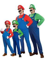 Discount latex costumes xs - cosplay Children family Funy Cosplay boy girl Super Mario Luigi Brothers Plumber Fancy Dress Up Party Cute Kids Costume