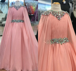 red little rosie pageant dress Australia - Pink Chiffon Pageant Dresses for Teens 2020 with Cape Beading Rhinestones Long Pageant Gowns for Little Girls Zipper Back Formal Party rosie