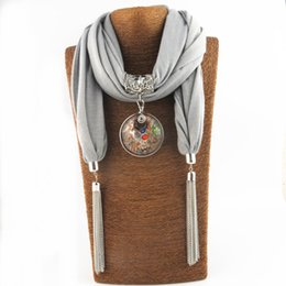 scarf necklaces for women Canada - New chain tassel pendant scarf glass ornaments shawl women jewelry necklace scarves for women