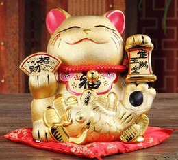 $enCountryForm.capitalKeyWord NZ - Lucky Cat ornaments large piggy opened Japanese arts and crafts ceramic gifts gold plating Lucky Cat