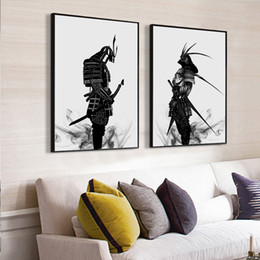 black white canvas prints UK - Oriental Japanese Samurai Splatter Art Painting Black & White Japanese Warrior Canvas Poster Wall Mural for Living Room Home Decor