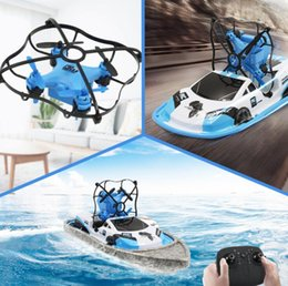 wholesale toys helicopter Australia - GW123 Global Drone RC Mini Drone Boat Vehicle Helicopter Mini Aircraft Remote Control Vehicle Toys 3 IN 1 Flying Air Boat GGA2936-2