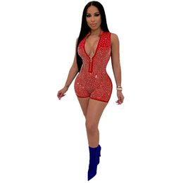 $enCountryForm.capitalKeyWord Australia - Women Sequin Diamond Playsuit Front Zipper Sleeveless Long Sleeve Rompers Sexy Club Party Bodycon Mini Jumpsuit