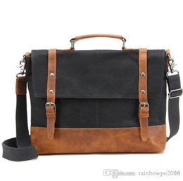 $enCountryForm.capitalKeyWord Australia - factory sales new waxed waterproof canvas shoulder bag retro, recreational and mad horsehide mans laptop bag business leather briefcase