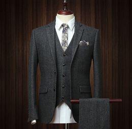 fb37530dd14 Vintage Tweed Suits Australia - Mens 3 Piece Wool Blend Herringbone Tweed  Suit Black Vintage Tailored