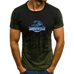 Discount stylish t shirts designs - 2019 new ultra-stylish design Jurassic World dinosaur printed short-sleeved camouflage shirt T-shirt.