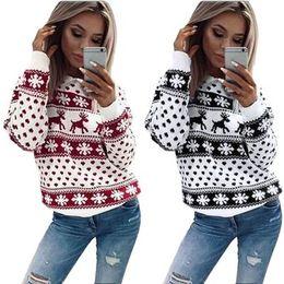 5b9b92516f2 Fashion Chic Women Christmas Snowflake Reindeer Jumper Oversized Knit  Sweater Top 2