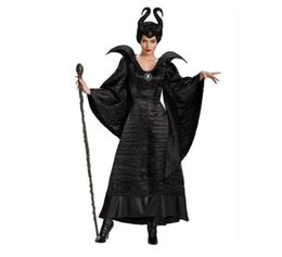 sexy queen cosplay black Canada - Women Halloween Costumes Sexy Black Sleeping Beauty Witch Queen Maleficent Dresses Hat Adult Party Cosplay Fancy Dress
