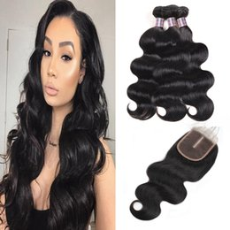 "yaki human hair lace closure 2019 - 8-28"" Curly Body Wave Virgin Hair Extensions Deep Wave 3 4pcs With Lace Closure Yaki Straight Water Wave Human Hair"