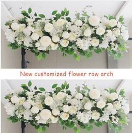 White Rose Arrangements Australia - Upscale Artificial Silk Peonies Rose Flower Row Arrangement Supplies for Wedding Arch Backdrop Centerpieces DIY Supplies