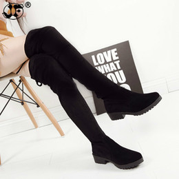 Stretch Cloth Australia - Thigh High Boots Female Winter Boots Women Over the Knee Boots Flat Stretch Sexy Fashion Shoes 2018 Black 563ikj