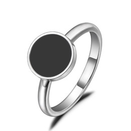 lucite girls rings Australia - Lokaer Trendy OL Style Anniversary Ring For Women Girls 10 12mm Black Acrylic Stone 316L Stainless Steel Rings Jewlery R19048